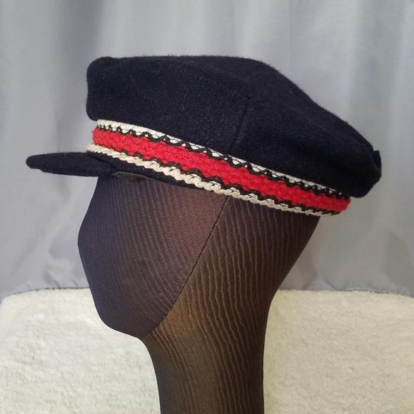 Vintage Navy blue captains hat with decorative ban